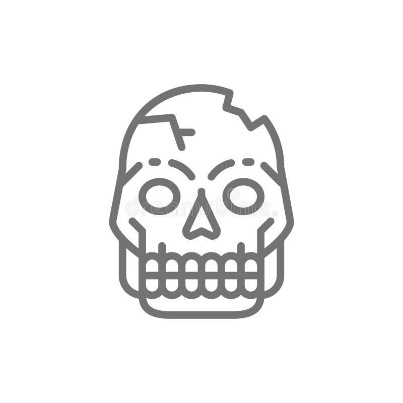 Pierwotna mężczyzna czaszka, pitekantrop kości, ludzkie resztki wykłada ikonę ilustracji