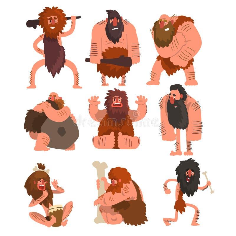 Pierwotni cavemen ustawiają, era kamienia łupanego mężczyzna prehistorycznego postać z kreskówki wektorowe ilustracje na białym t ilustracja wektor