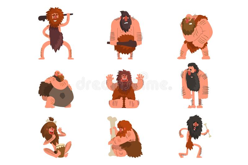 Pierwotni cavemen ustawiaj?, era kamienia ?upanego m??czyzna prehistorycznego posta? z kresk?wki wektorowe ilustracje na bia?ym t royalty ilustracja