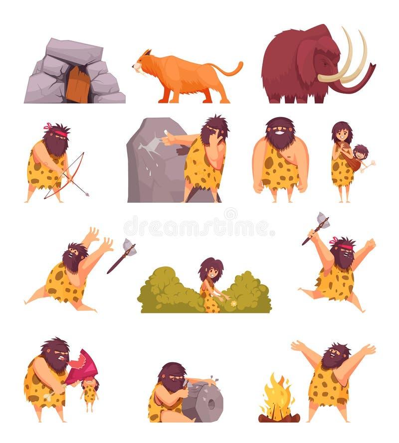 Pierwotni ludzie W Stone Age ilustracji