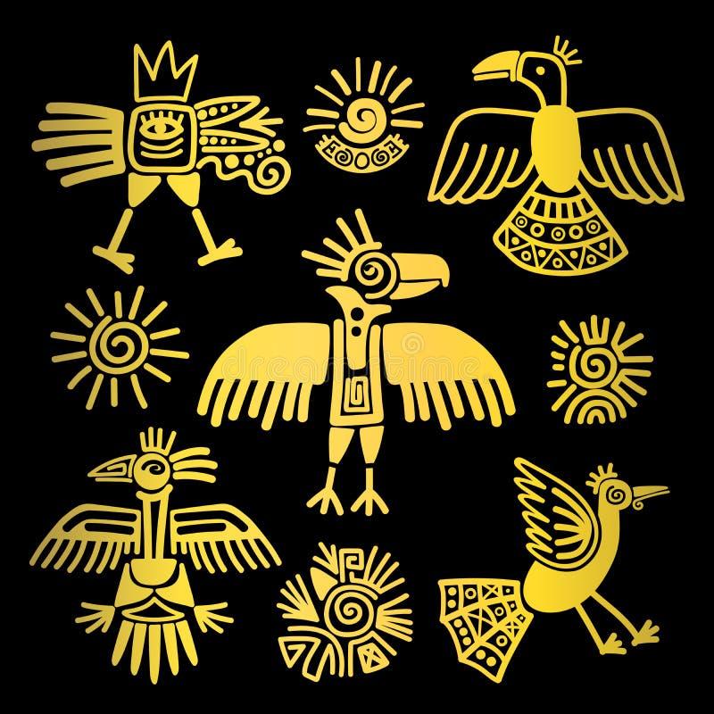 Pierwotni plemienni złoci ptaków obrazy royalty ilustracja