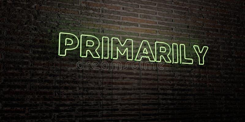 PIERWOTNIE - Realistyczny Neonowy znak na ściana z cegieł tle - 3D odpłacający się królewskość bezpłatny akcyjny wizerunek ilustracji