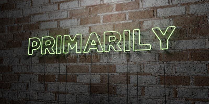 PIERWOTNIE - Rozjarzony Neonowy znak na kamieniarki ścianie - 3D odpłacająca się królewskości bezpłatna akcyjna ilustracja royalty ilustracja