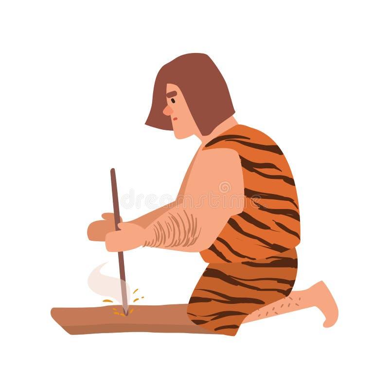 Pierwotny archaiczny mężczyzna lub caveman ubieraliśmy w skóry oświetlenia odzieżowym ogieniu przez frykci śrutowanie kawałkiem d ilustracja wektor