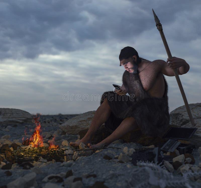 Pierwotny mężczyzna jest usytuowanym na kamieniu z smartphone pojęciem royalty ilustracja