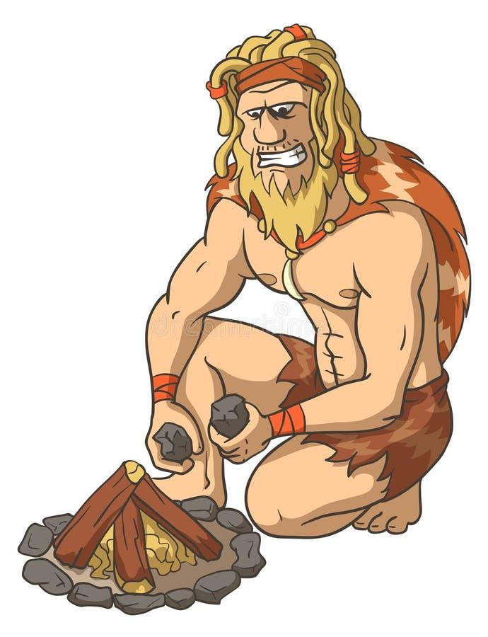 Pierwotny mężczyzna Rozognia ogienia royalty ilustracja