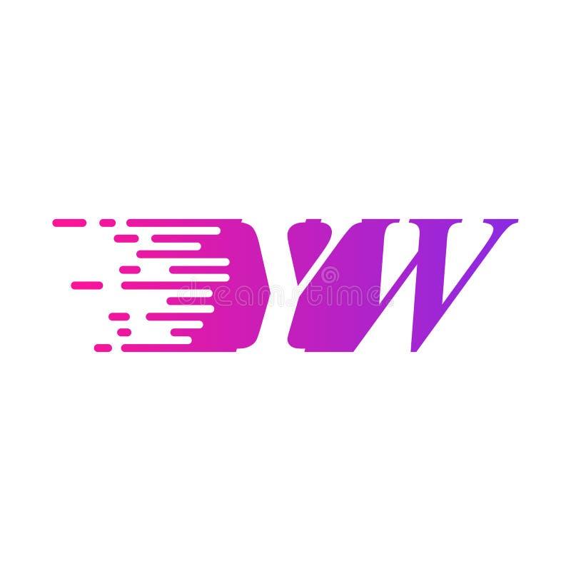 Pierwsza litera YW szybko poruszającym się wektorem logo, purpurowy kolor różowy royalty ilustracja