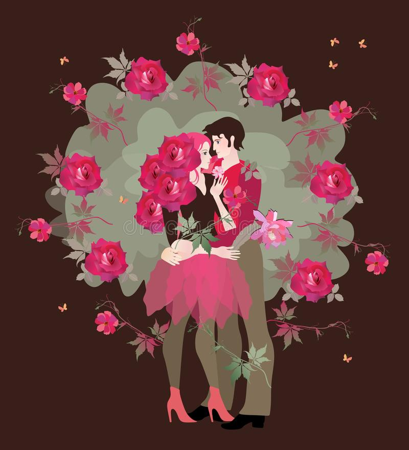 pierwsza miłość Nastoletnia dziewczyna z kędzierzawym włosy w postaci róż i nastolatka chłopak obejmujemy each inny ilustracja wektor