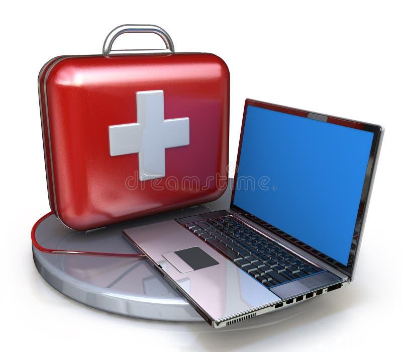 Pierwsza pomoc dla laptopu ilustracji