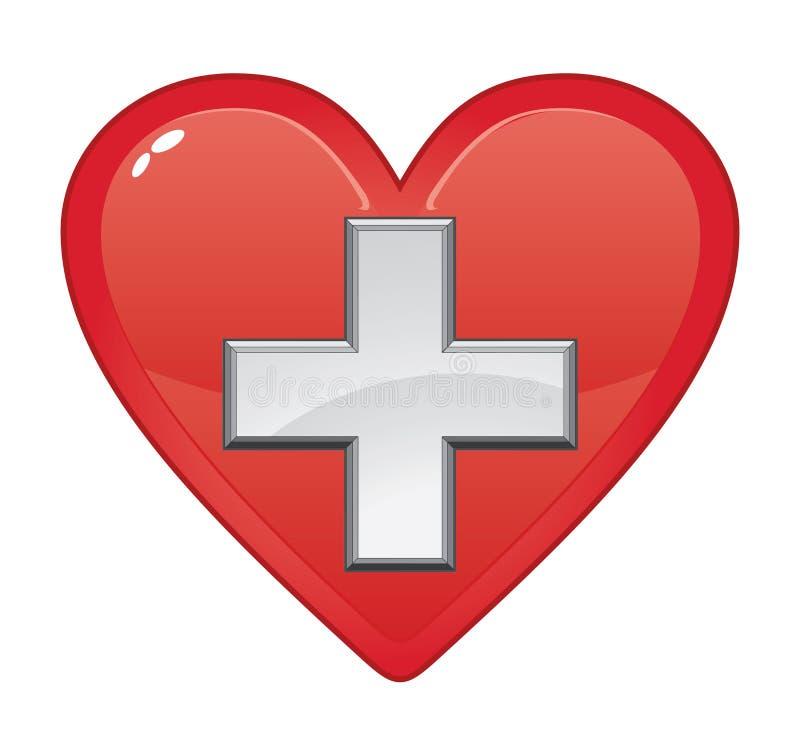 Pierwsza Pomoc Medyczny symbol W sercu ilustracja wektor