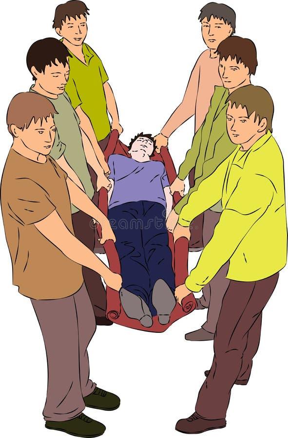 Pierwsza pomoc - niesie zdradzonej osoby na koc ilustracja wektor