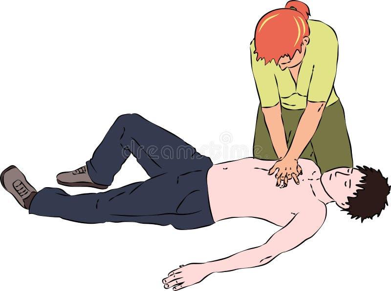 Pierwsza pomoc - reanimaci procedura CPR sercowy masaż dla mężczyzna royalty ilustracja