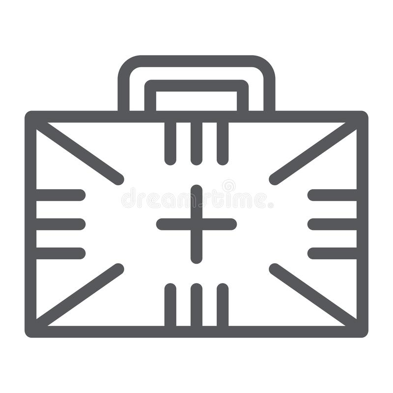 Pierwsza pomoc zestawu linii ikona, pudełko i nagły wypadek, medyczny skrzynka znak, wektorowe grafika, liniowy wzór na białym tl royalty ilustracja