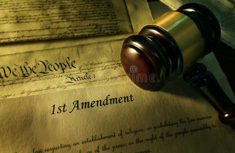 Pierwsza Poprawka konstytucja zdjęcia stock