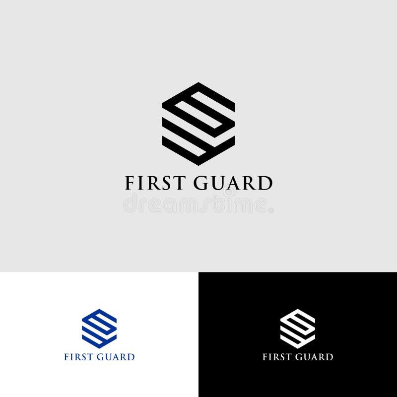 Pierwsza straż Inicjały FG Projekt logo Logo Precision ilustracja wektor