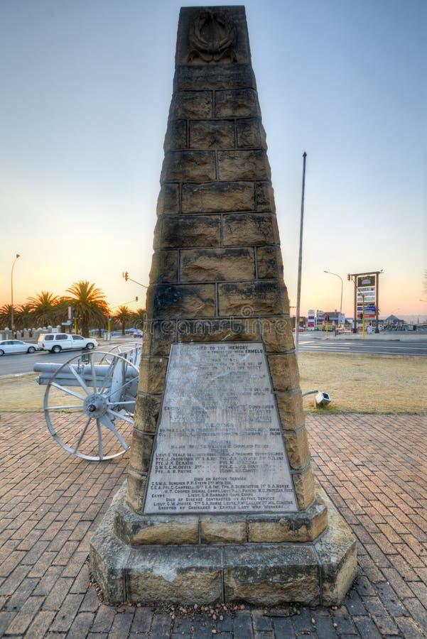 Pierwsza Wojna Światowa pomnik - Ermelo, Południowa Afryka zdjęcia royalty free