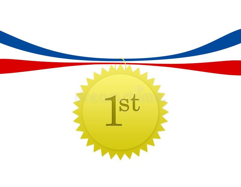 pierwsze miejsce medalu ilustracja wektor
