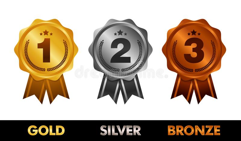 pierwsze miejsce po drugie należy umieścić umieszcza tercja Nagradza medale Ustawiających odizolowywającymi na bielu z faborkami  ilustracja wektor