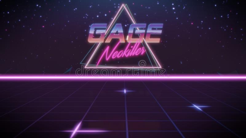 pierwszego imienia Gage w synthwave stylu royalty ilustracja