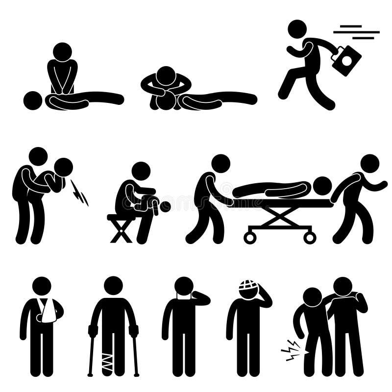 Pierwszej Pomocy Ratowniczy Przeciwawaryjny Pomoc CPR Piktogram ilustracji