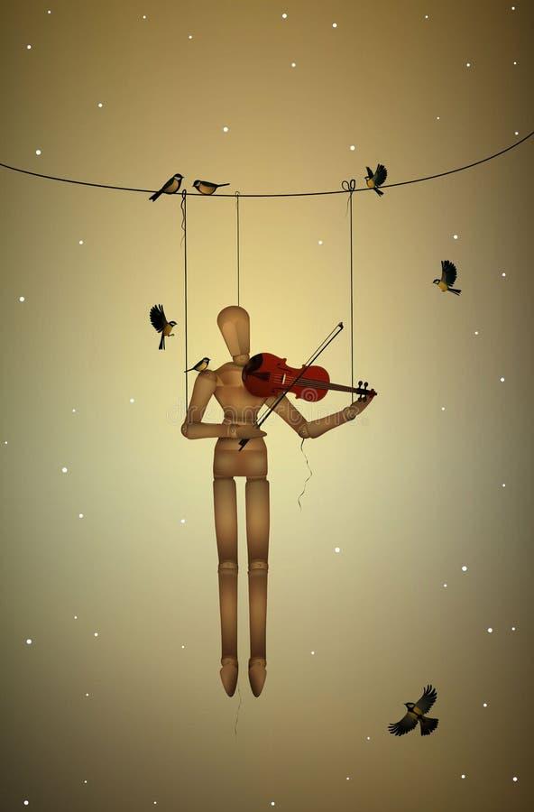 Pierwszy śnieżna melodia, marionetkowy obwieszenie na gałąź i bawić się violine dla tit ptaków, royalty ilustracja