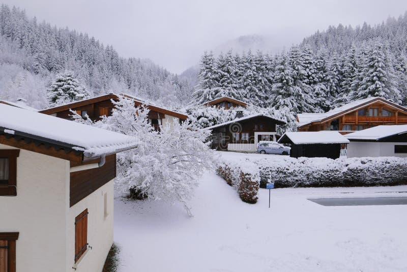 Pierwszy śnieg w Argentiere fotografia stock