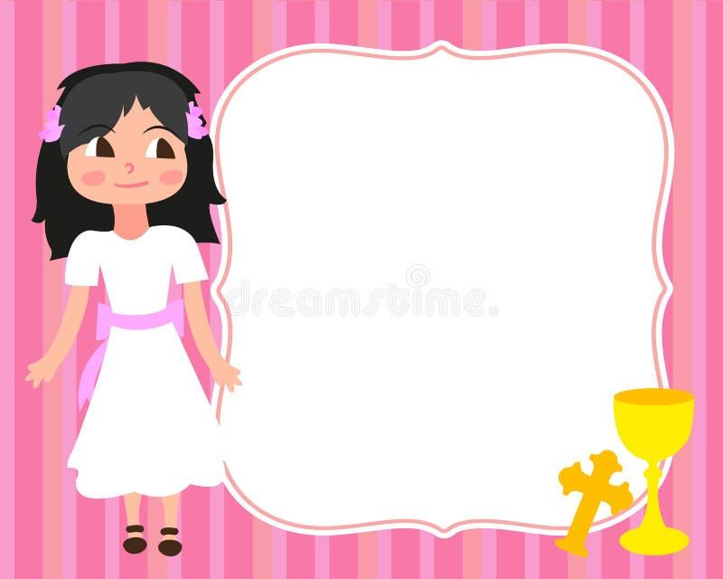 Pierwszy Świętej komuni karty szablonu małej dziewczynki bielu suknia, zaproszenie, filiżanka, krzyż, wektor, przestrzeń dla teks ilustracja wektor