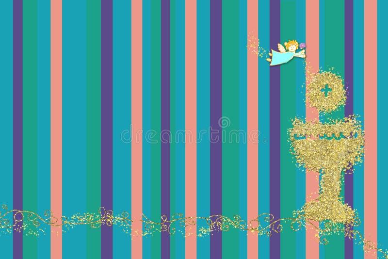 Pierwszy Świętej komuni zaproszenia, anioł i chalice, royalty ilustracja