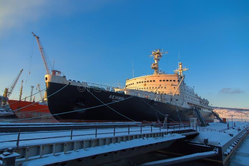Pierwszy atomowy wspomagany energią jądrową icebreaker Lenin zdjęcia royalty free