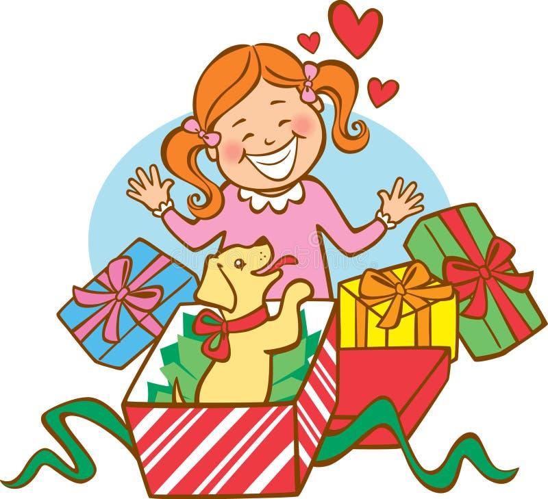 pierwszy Boże Narodzenie szczeniak s ilustracja wektor