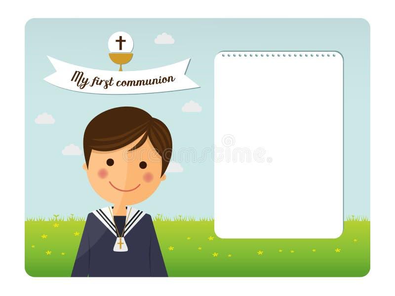 Pierwszy communion dziecka przedpola zaproszenie ilustracji