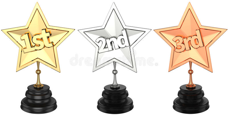Pierwszy drugi i na trzecim miejscu trofea ilustracja wektor