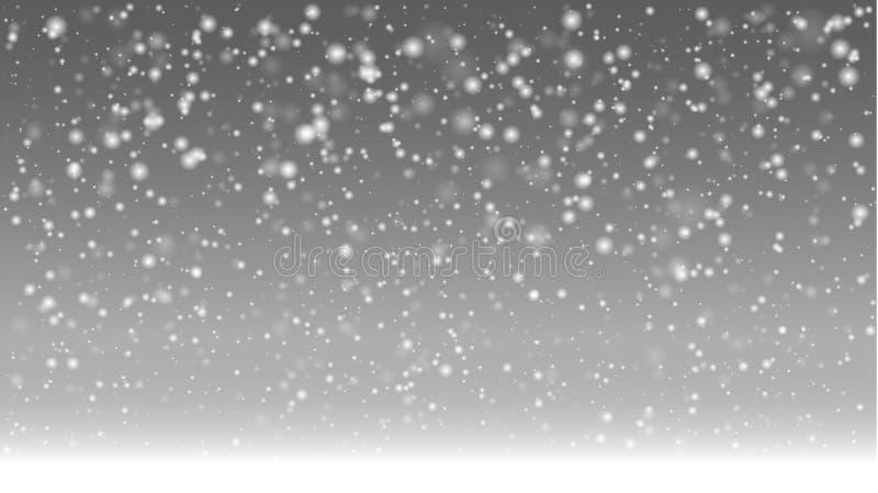 Pierwszy dzień zima z ciężkiego śniegu spadkiem ilustracji