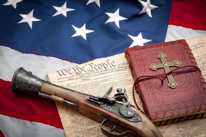 Pierwszy i Drugi poprawka w Amerykańskim systemu sprawiedliwości sądowy zdjęcia royalty free