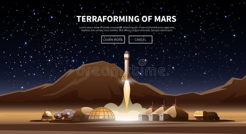 Pierwszy kolonie Terraforming mąci ilustracji