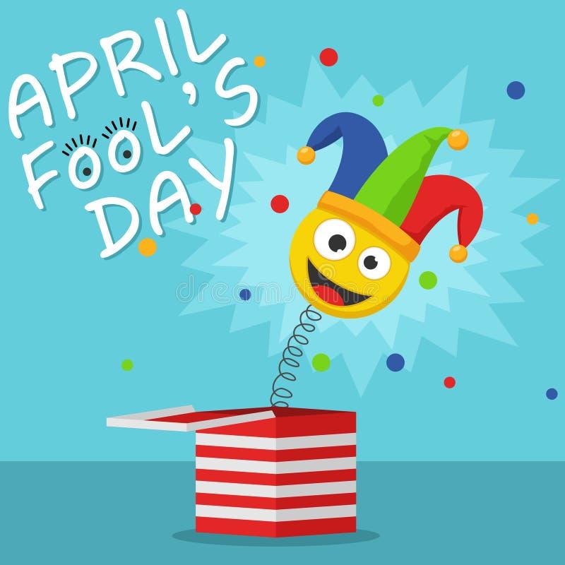 Pierwszy Kwietnia durnia dnia Szczęśliwy Wakacyjny kartka z pozdrowieniami Jack w pudełkowatej zabawce na błękitnym tle Dowcipnis ilustracji
