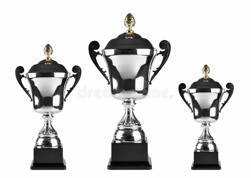 pierwszy miejsca drugi trzeci trofea zdjęcie royalty free