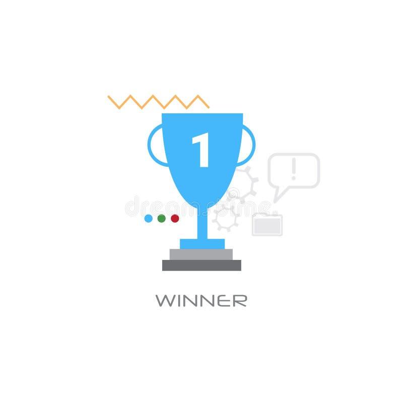 Pierwszy miejsca trofeum filiżanki wierzchołka nagrody sukcesu zwycięzcy pojęcia mistrzostwa lidera liczby jeden kreskowego stylu ilustracja wektor