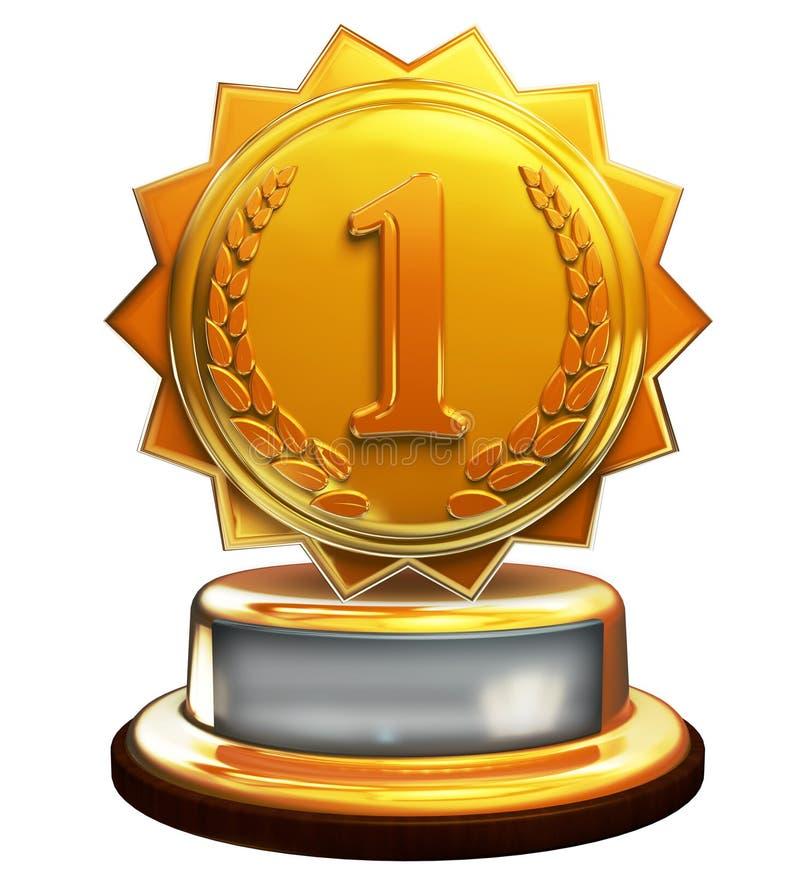 Pierwszy miejsca złocista nagroda, liczba jeden, przycina maskę royalty ilustracja
