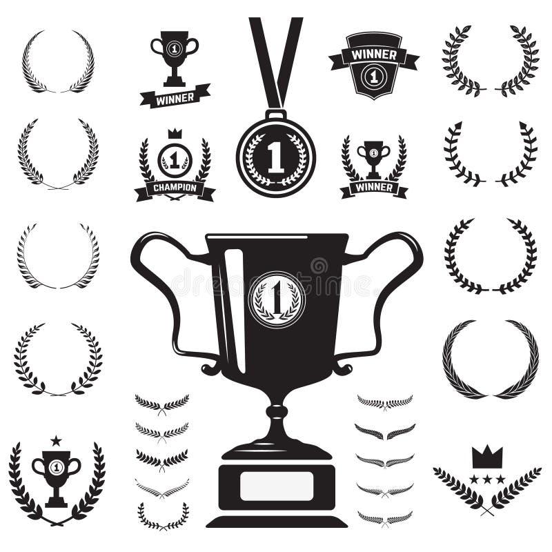 Pierwszy miejsce etykietek, medalu monochromatyczne ikony i royalty ilustracja
