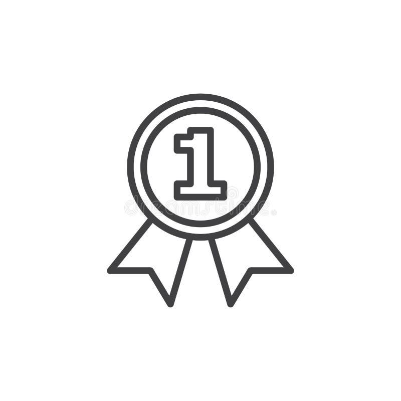 Pierwszy miejsce medalu linii ikona ilustracja wektor