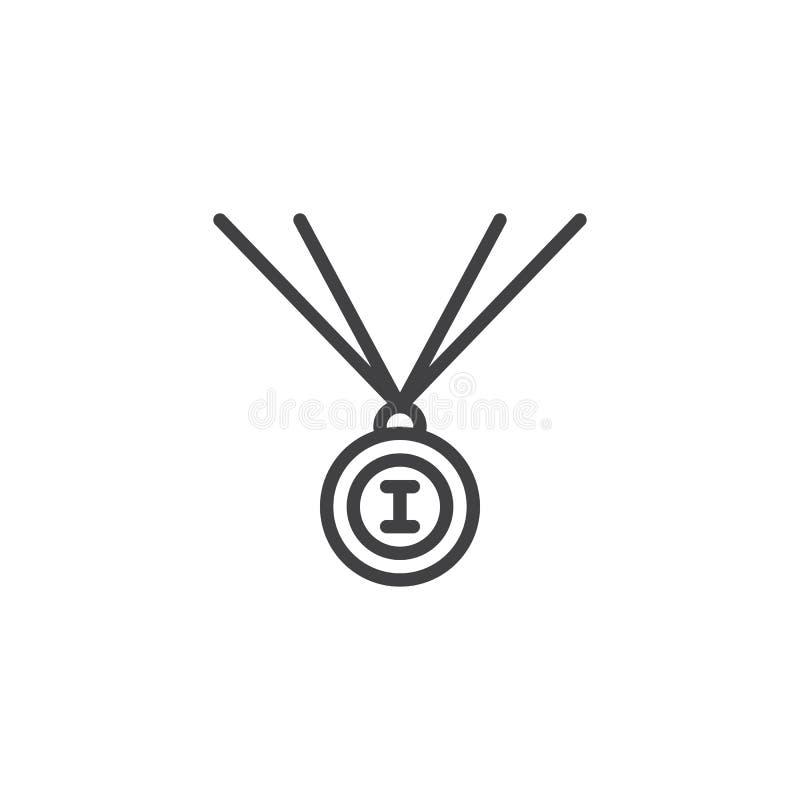 Pierwszy miejsce medalu linii ikona royalty ilustracja