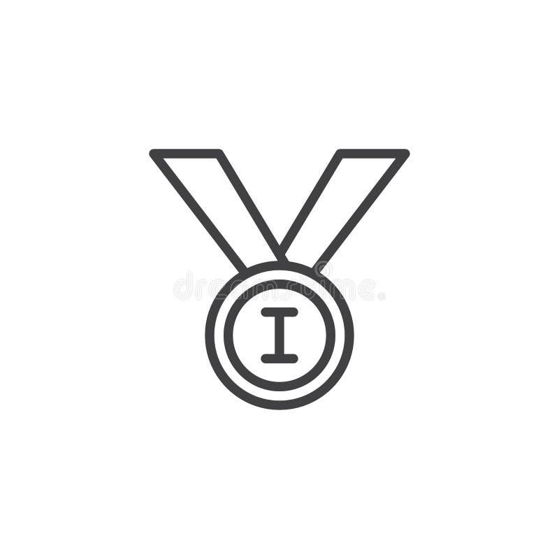 Pierwszy miejsce medalu linii ikona ilustracji
