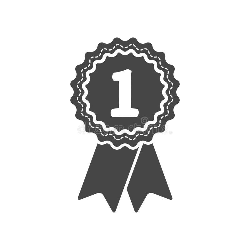 Pierwszy miejsce nagrody odznaka z faborek ikoną ilustracja wektor