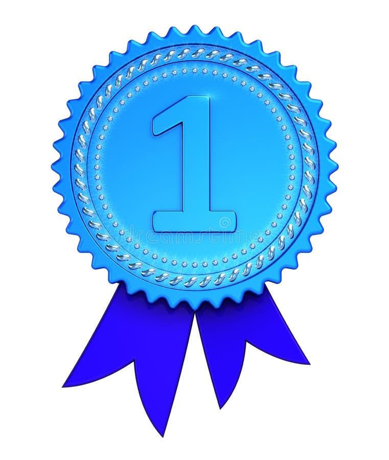 Pierwszy miejsce 1st nagrody medalu tasiemkowy błękit, liczy jeden 1 zwycięzcy ilustracja wektor