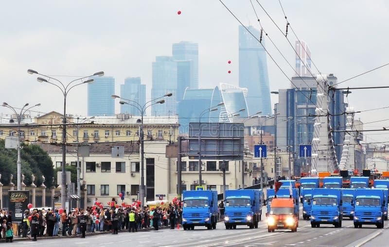 Pierwszy Moskwa parada miasto transport Cleaning maszyny zdjęcia stock