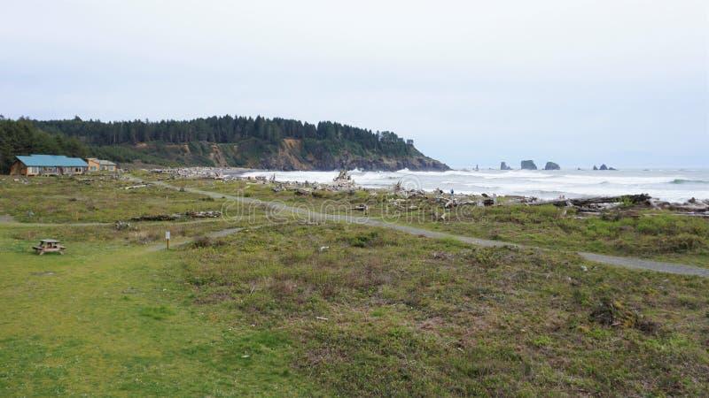 Pierwszy plażowa linia brzegowa przy losu angeles pchnięciem blisko Cascadia usterki zdjęcia stock