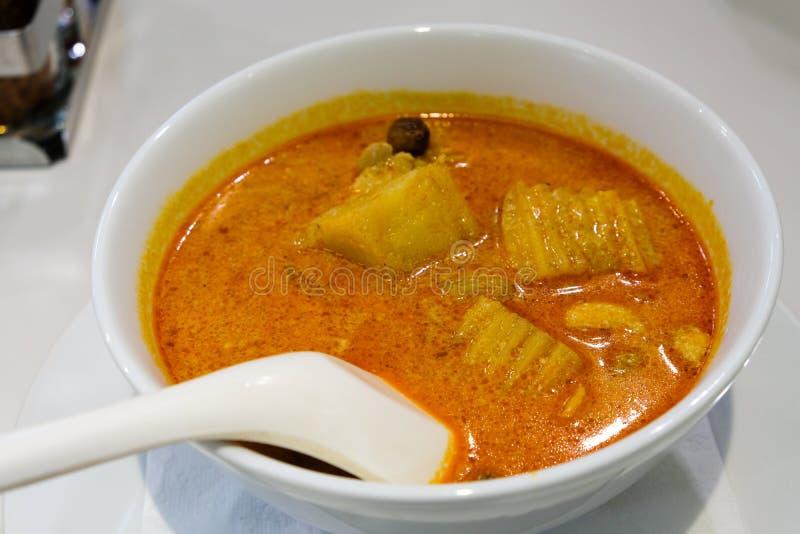 Pierwszy posiłek W Bangkok Tajlandia Zaraz po Lądować, Jeden puchar Wspaniały curry gruli kurczak obraz stock