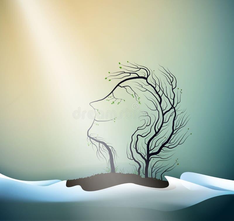 Pierwszy promień wiosny słońca pojęcie, drzewni spojrzenia jak mężczyźni przewodzi, wiosna portret lasowy duch, drzewa s sen, ilustracji