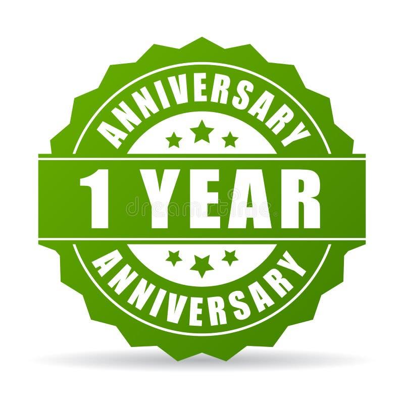 Pierwszy roku rocznicowa wektorowa ikona ilustracji